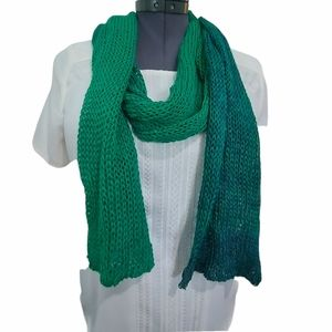 Hand Knit Green To Deep Teal Ombre Scarf